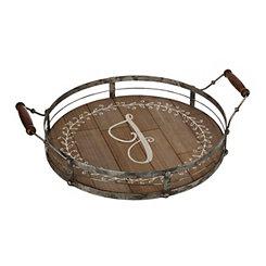 Round Metal and Wood Monogram J Laurel Tray