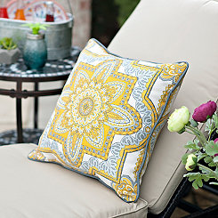 Cassia Yellow Medallion Outdoor Pillow