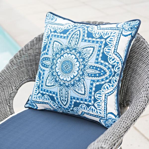 Cassia Blue Medallion Outdoor Pillow
