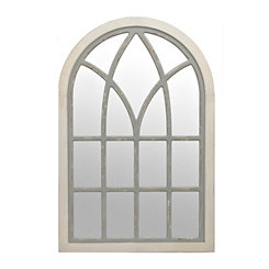 Distressed Cream and Gray Mattie Arch Mirror