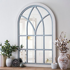 Distressed Cream and Gray Vail Arch Mirror