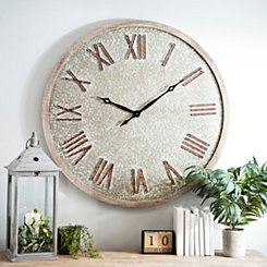 Galvanized Face Wooden Wall Clock