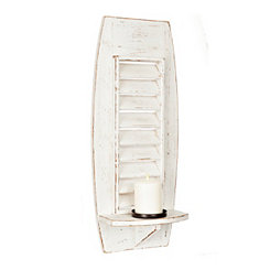 Whitewashed Wood Shutter Sconce