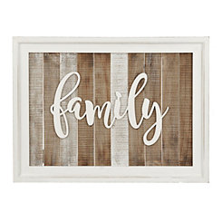 Slatted Wood Framed Family Wall Plaque