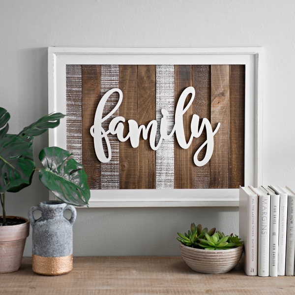 Beautiful ... Slatted Wood Framed Family Wall Plaque ...