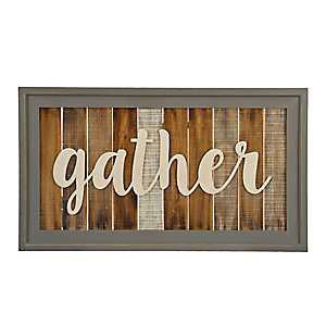 Slatted Wood Framed Gather Wall Plaque