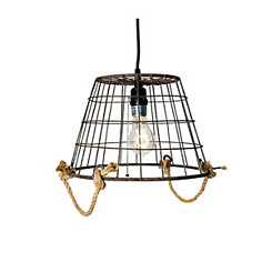 Blue Metal Basket Pendant Light
