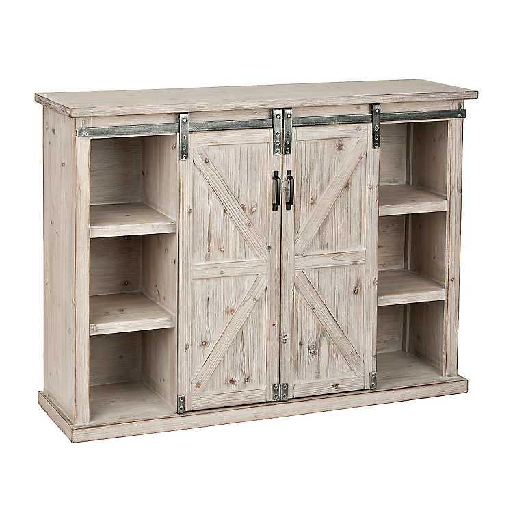 Sliding Barn Door Console Cabinet: Natural Farmhouse Sliding Door Cabinet