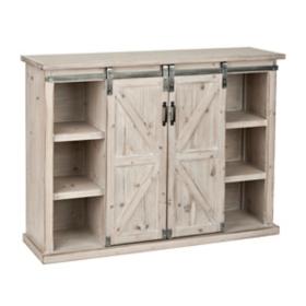 White Farmhouse Sliding Door Cabinet