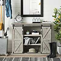 Natural Farmhouse Sliding Door Cabinet