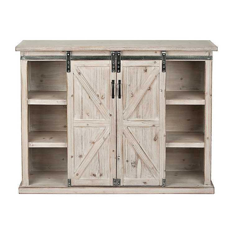 Farmhouse Sliding Door Console: Natural Farmhouse Sliding Door Cabinet