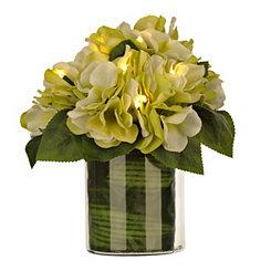 Pre-Lit Green Peony and Hydrangea Arrangement