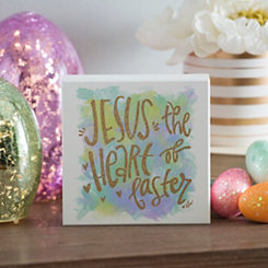 Heart of Easter Watercolor Word Block