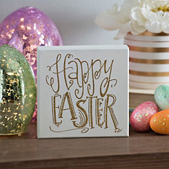 Happy Easter Gold Glitter Word Block