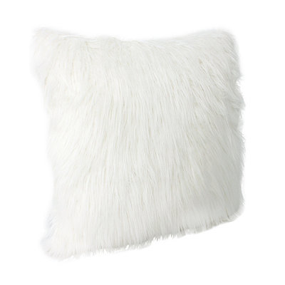Bright White Keller Faux Fur Pillow, 20 in.