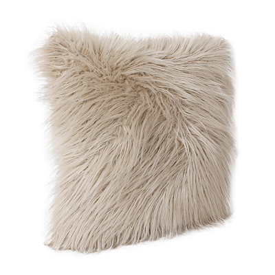 Oatmeal Keller Faux Fur Pillow, 20 in.