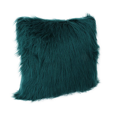 Deep Teal Keller Faux Fur Pillow, 20 in.