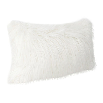 Bright White Keller Faux Fur Accent Pillow