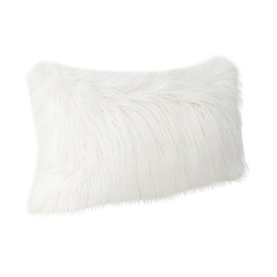 Antique White Keller Faux Fur Accent Pillow
