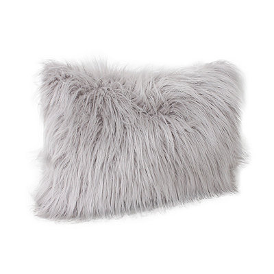 Gray Keller Faux Fur Accent Pillow