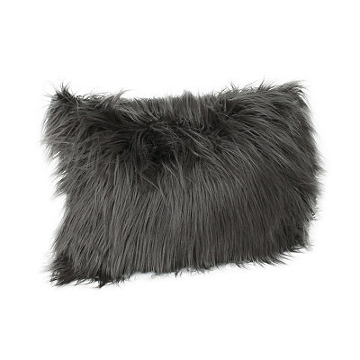 Charcoal Keller Faux Fur Accent Pillow