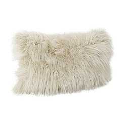 Oatmeal Keller Faux Fur Accent Pillow