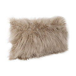 Tan Keller Faux Fur Accent Pillow