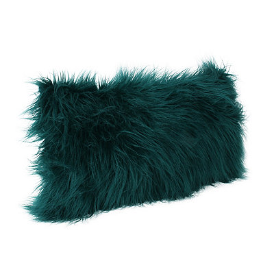 Deep Teal Keller Faux Fur Accent Pillow