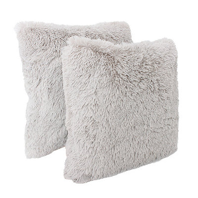 Gray Chubby Faux Fur Pillows, Set of 2