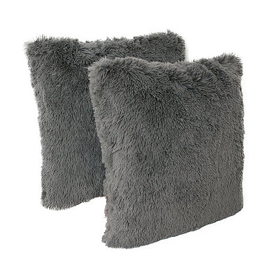Charcoal Chubby Faux Fur Pillows, Set of 2