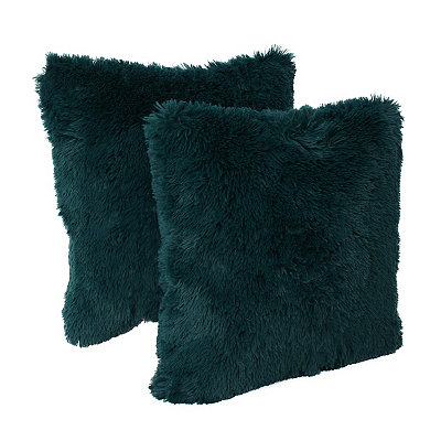 Teal Chubby Faux Fur Pillows, Set of 2