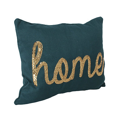 Deep Teal Sequined Home Accent Pillow