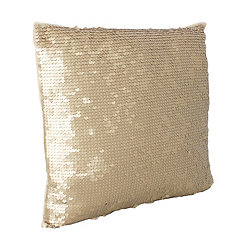 Gold Laguna Leather Sequin Pillow