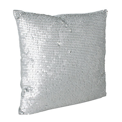 Silver Laguna Leather Sequin Pillow