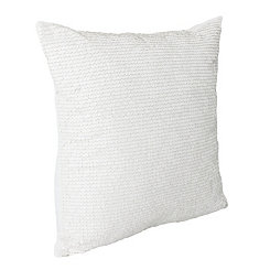 White Laguna Leather Sequin Pillow