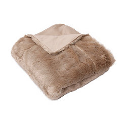 Tan Savannah Faux Fur Throw Blanket