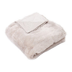 Oatmeal Savannah Faux Fur Throw Blanket