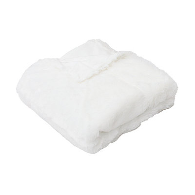 Egret Savannah Faux Fur Throw Blanket