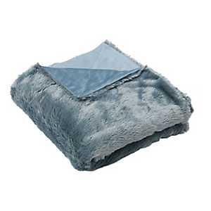 Silver Blue Savannah Faux Fur Throw Blanket