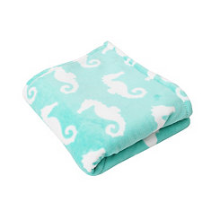 Blue Seahorse Velvet Plush Throw Blanket