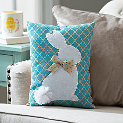 Blue Quatrefoil Bunny Pillow