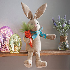 Tan Plush Boy Bunny Shelf Sitter