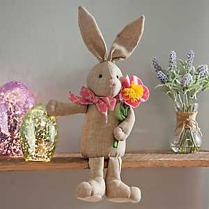 Tan Plush Girl Bunny Shelf Sitter