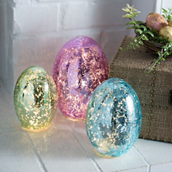 Pre-Lit Mercury Glass Easter Eggs, Set of 3