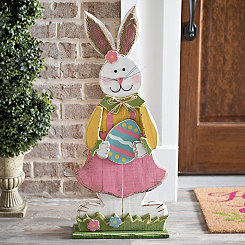 Girl Bunny With Easter Egg Sign
