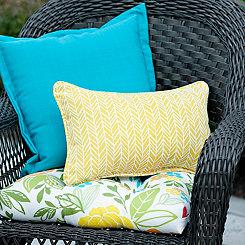 Yellow Herringbone Outdoor Accent Pillow