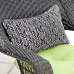 Black Herringbone Outdoor Accent Pillow