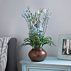 Blue Star Flower Arrangement in Brown Planter