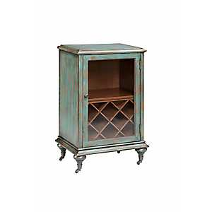 Turquoise Rolling Wine Cabinet