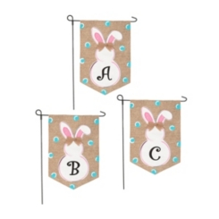 Burlap Bunny Polka Dot Monogram Flag Sets